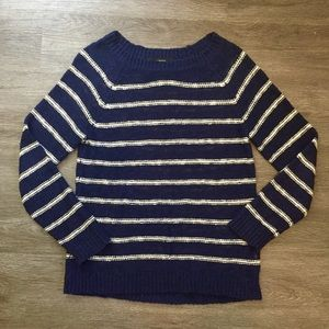 Blue and White Scoop Neck Sweater